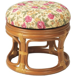 スツール 椅子 籐製 天然籐 ラタン 回転式 ロースツール - 拡大画像