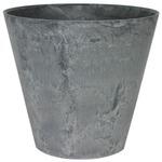 【4個入】底面給水型植木鉢/プランター アートストーン ラウンド型/17cm 底栓付 グレー(灰) 〔ガーデニング用品/園芸〕
