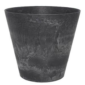 底面給水型 植木鉢/プランター 【ラウンド型 ブラック 直径27cm】 底栓付 『アートストーン』 〔園芸 ガーデニング用品〕 - 拡大画像