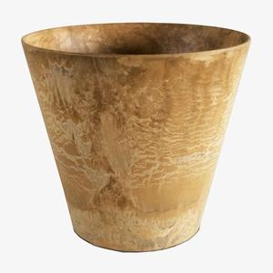 底面給水型 植木鉢/プランター 【ラウンド型 ベージュ 直径37cm】 底栓付 『アートストーン』 〔園芸 ガーデニング用品〕 - 拡大画像