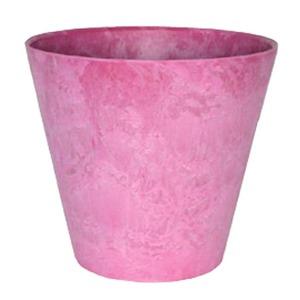 【2個入】底面給水型植木鉢/プランター アートストーン ラウンド型/22cm 底栓付 ピンク 〔ガーデニング用品/園芸〕 - 拡大画像
