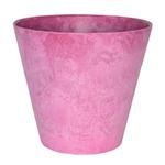 【2個入】底面給水型植木鉢/プランター アートストーン ラウンド型/22cm 底栓付 ピンク 〔ガーデニング用品/園芸〕