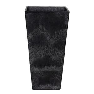 底面給水型 植木鉢/プランター 【トールスクエア型 ブラック 幅35cm×高さ70cm】 底栓付 『アートストーン』 〔園芸用品〕 - 拡大画像
