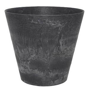 底面給水型植木鉢/プランター アートストーン 【ラウンド型/43cm】 底栓付 ブラック(黒) 〔ガーデニング用品/園芸〕 - 拡大画像