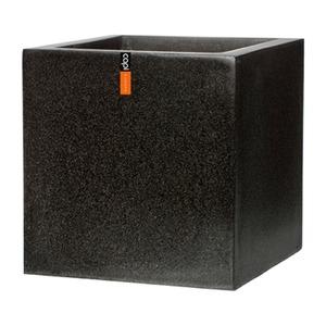 樹脂製軽量ポット(植木鉢/プランター) CAPI キューブ型/50cm 防水/UV加工/耐寒性 ブラック(黒) 〔ガーデニング用品/園芸〕 - 拡大画像
