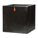 樹脂製軽量ポット (植木鉢/プランター) 【キューブ型 ブラック】 幅50cm 防水 UV加工 耐寒 『CAPI』 〔ガーデニング用品〕