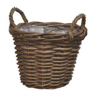 【2個入】ラタンバスケット/ハンドルバスケット 【直径30cm】 取っ手付き 『モンデリック』 〔園芸 ガーデニング用品〕 - 拡大画像