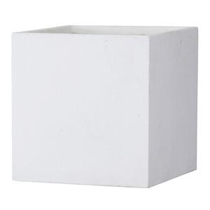 ファイバークレイ製 軽量 大型植木鉢 バスク キューブ 50cm ホワイト - 拡大画像