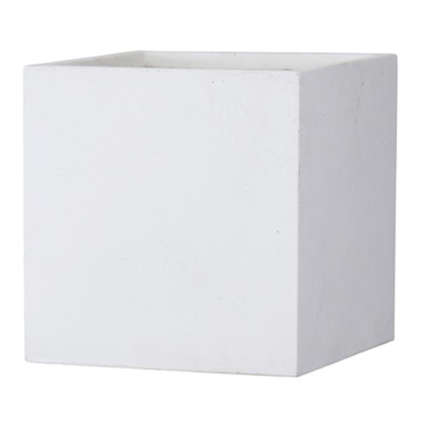ファイバークレイ製 軽量 大型植木鉢 バスク キューブ 50cm ホワイト