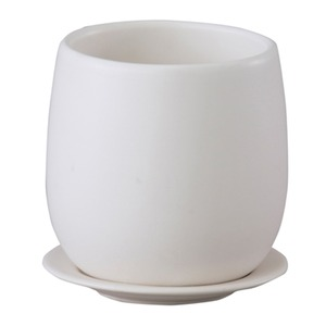 【4個入】インテリアポット(植木鉢/プランター) 【ボール型 マットホワイト 直径13cm】 穴有 皿付 陶器製 『オスト』 - 拡大画像