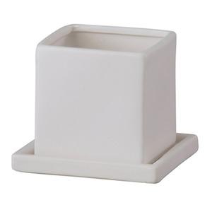 【4個入】インテリアポット(植木鉢/プランター) 【キューブ マットホワイト 直径11cm】 穴有 皿付 陶器製 『オスト』 - 拡大画像