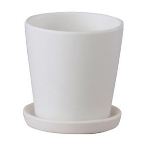 【4個入】インテリアポット(植木鉢/プランター) 【ラウンド型 マットホワイト 直径11cm】 穴有 皿付 陶器製 『オスト』 - 拡大画像