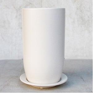 インテリアポット(植木鉢/プランター) 【トールエッグ型 マットホワイト 直径15cm】 穴有 皿付 陶器製 『オスト』 - 拡大画像