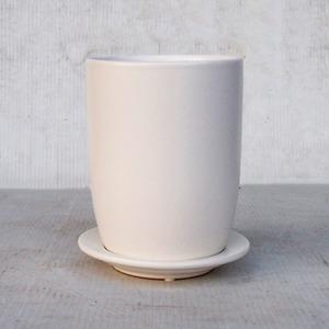 【2個入】インテリアポット(植木鉢/プランター) 【トールエッグ型 マットホワイト 直径13cm】 穴有 皿付 陶器製 『オスト』 - 拡大画像