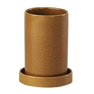 インテリアポット(植木鉢/プランター) 【シリンダー型 イエロー 直径18cm】 穴有 陶器製 『カーム』 〔園芸用品〕 - 拡大画像