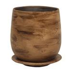 インテリアポット 陶器製植木鉢 ウィート ボール 20cm ライトブラウン 皿付