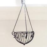 吊下げ型植木鉢用かご/ワイヤーハンギングバスケット 【アンティークブラック Lサイズ】 直径31cm アイアン製 『カルチベーター』