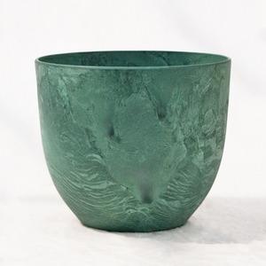 植木鉢 鉢カバー  アートストーン ボーラカバー 28cm 9号 グリーン 穴無し - 拡大画像