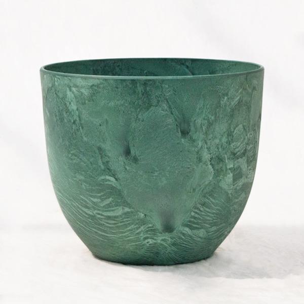 植木鉢 鉢カバー  アートストーン ボーラカバー 28cm 9号 グリーン 穴無し