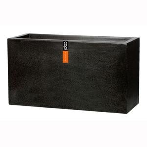 樹脂製軽量ポット (植木鉢/プランター) 【プランター型 ブラック】 長さ80cm 防水 UV加工 耐寒 『CAPI』 〔ガーデニング用品〕 - 拡大画像