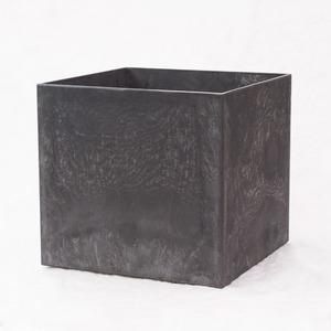 樹脂製 植木鉢 アートストーン キューブ ブラック 32cm 10号 穴有 - 拡大画像