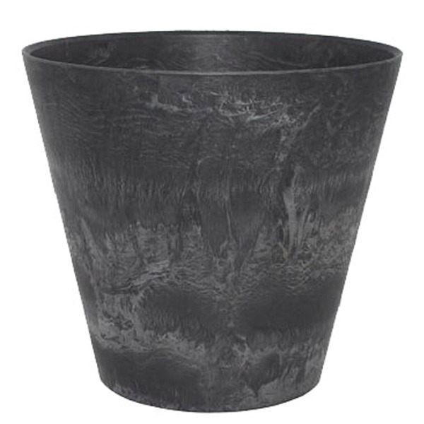 【10個入り】底面給水型 植木鉢/プランター 【ラウンド型 ブラック 直径32cm】 底栓付 『アートストーン』 〔園芸 ガーデニング用品〕