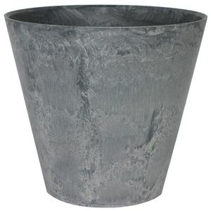 【10個入】 底面給水型植木鉢/プランター 【ラウンド型 グレー 直径17cm】 底栓付 『アートストーン』 〔園芸用品〕 - 拡大画像
