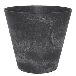 【10個入】 底面給水型植木鉢/プランター 【ラウンド型 ブラック 直径17cm】 底栓付 『アートストーン』 〔園芸用品〕 - 拡大画像
