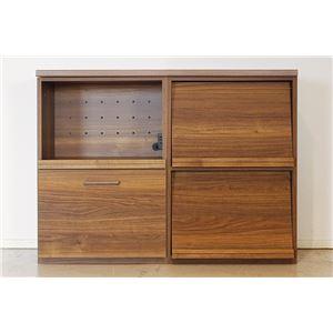 エフィーノ 収納家具 (幅120cm天板+マガジン+OP引出) ブラウン 【完成品】 - 拡大画像