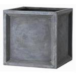 軽量植木鉢/プランター 【Pキューブ型 グレー 幅47cm】 穴有 ファイバー製 『LLブリティッシュ』