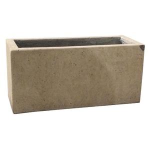 軽量コンクリート製 植木鉢/プランター 【クリーム 直径48cm×奥行19.5cm×高さ22cm】 底穴あり 『フォリオ プランター』 - 拡大画像