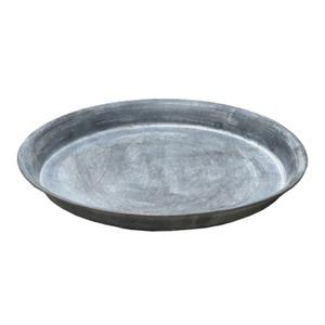 【3個入】 ブリキ製植木鉢用受け皿/ソーサー 【シルバー 直径26cm】 円形 ソーサーBW 『ウーノ』