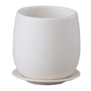 インテリアポット(植木鉢/プランター) 【ボール型 マットホワイト 直径20cm】 穴有 皿付 陶器製 『オスト』 - 拡大画像