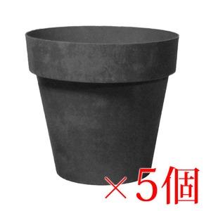 樹脂製 軽量 植木鉢 ライク ラウンド ブラック 18cm 6号【5個入】 - 拡大画像