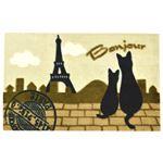 マルナカ プリント玄関マット 旅する黒猫 エッフェル塔 ベージュ 45×70cm