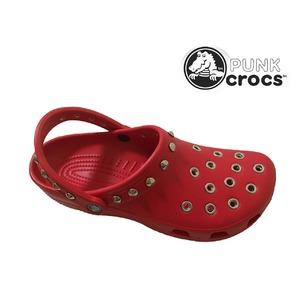 パンク クロックス クラシック ケイマン カスタム 赤 レッド crocs サンダル 28cm(M10/W12)