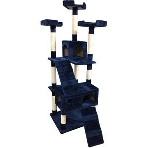 キャットタワー 大型タイプ 据え置きタイプ 高さ170cm SR-CAT1830-NV ネイビー - 拡大画像