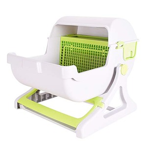 Sun Ruck 半自動猫用トイレ 猫トイレ キャットトイレ 固まる猫砂用 SR-ACT01-GR グリーン - 拡大画像