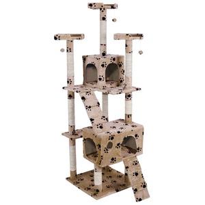 キャットタワー 大型タイプ 据え置きタイプ 高さ170cm SR-CAT1830-PW 肉球柄 - 拡大画像