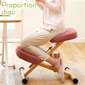 プロポーションチェア/姿勢矯正椅子 【レッド】 木製 座面高さ調整可/キャスター付き - 拡大画像