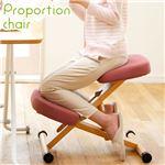 プロポーションチェア/姿勢矯正椅子 【レッド】 木製 座面高さ調整可/キャスター付き
