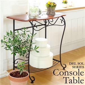 コンソールテーブル(サイドテーブル/ミニテーブル) 木製/スチール 幅75cm アジャスター/棚付き 『Del Sol』  - 拡大画像