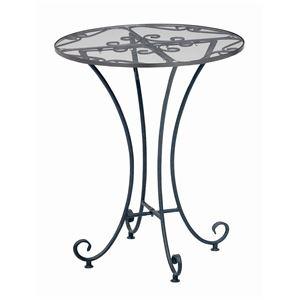 強化ガラスラウンドテーブル 直径60cm スチールフレーム アジャスター付き 『Del Sol』 アンティーク調