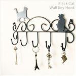 猫柄ウォールキーフック/壁掛けフック 【幅30cm】 スチール製 【完成品】