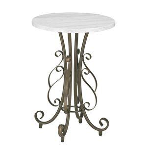 サイドテーブル/ラウンドテーブル 【直径40cm】 スチールフレーム 木目調 アジャスター付き 『セレスティア』
