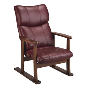 スーパーソフトレザー高座椅子 【大河】 リクライニング/高さ調整可 肘掛け 日本製 ワインレッド(赤) 【完成品】 - 拡大画像