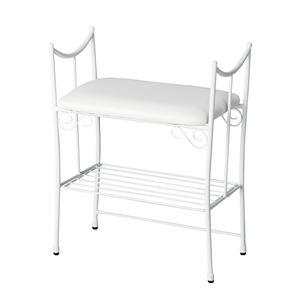 エントランスハイチェア/玄関椅子 【幅48cm】 スチール製 張地:合成皮革(合皮) 座面下収納付 『Del Sol』 ホワイト 【完成品】 - 拡大画像