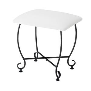 ヨーロッパ風 スツール/腰掛け椅子 【幅45cm】 スチール脚 張地:合成皮革/合皮 『Del Sol』 - 拡大画像