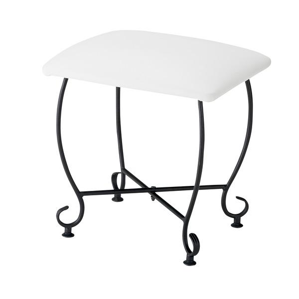 ヨーロッパ風 スツール/腰掛け椅子 【幅45cm】 スチール脚 張地:合成皮革/合皮 『Del Sol』