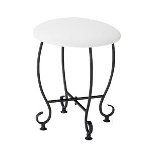 ヨーロッパ風 ラウンドスツール/腰掛け椅子 【円形 直径35cm】 スチール脚 張地:合成皮革/合皮 『Del Sol』 - 拡大画像